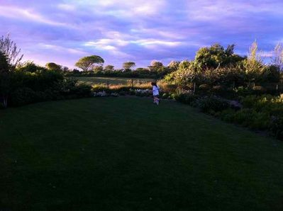 Dusk over the back lawn and garden