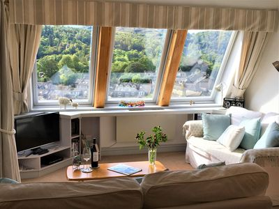Bright South facing  lounge overlooking the rooftops of Ambleside and the fells