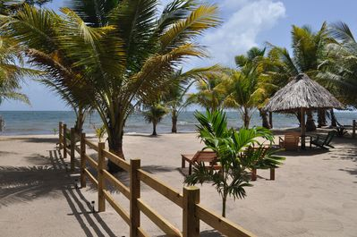 Beachfront Blue Moon Cabana has a gorgeous beach and is steps from the sea