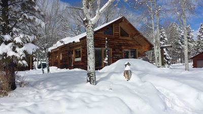Photo for Authentic lakefront log cabin. Boating, fishing, hiking, relaxing Colorado style