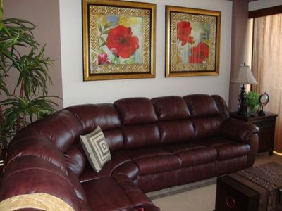 Beautiful double recliner leather sofa.
