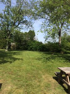 Large back yard with picnic table.
