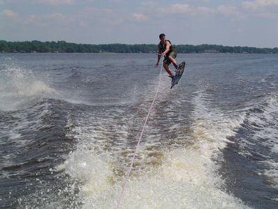 My son riding the wake!