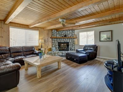 Photo for Gorgeous abode a short walk from the lake w/ a cozy wood fireplace & jetted tub