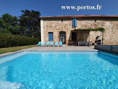Photo for The hunting lodge of Castle Portos, Airconditioning, an own heated swimming pool