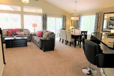 """Large Great Room perfect for large groups. 52"""" Flat Screen TV & Surround Sound."""