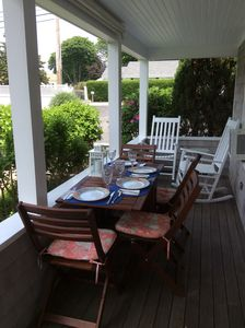 Front Porch.  Table for 4 plus 4 rockers