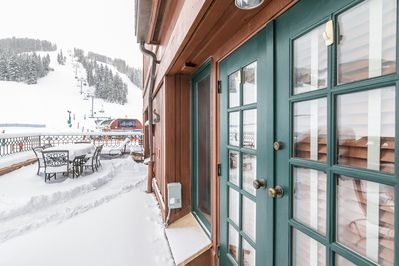 Patio - The Village Hall condos sit right at the base of Beaver Creek Mountain.