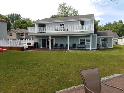 Photo for Beautiful  Lakefront Home ~ Pontoon Boat ~ Hot Tub ~ Expansive Decks