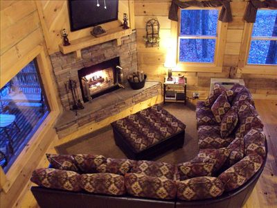 Spacious Seating with Beautiful Views from Every Window. Wood Burning Fireplace
