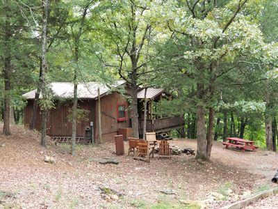 Photo for Cozy romantic Rustic Cabin view of Spring River, Wifi, near Rustic Oaks Venue