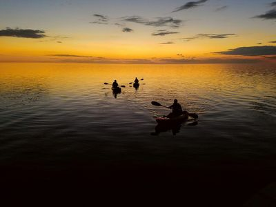Kayaking in the sound at sunset off the private dock - lots to explore!