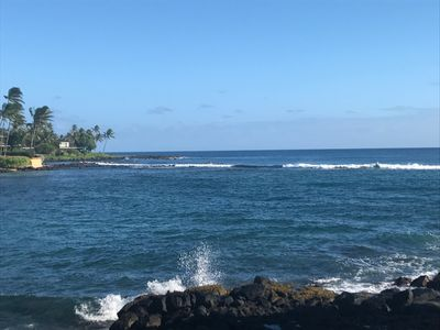 The amazing view from our lanai looking east at the Pacific Ocean!