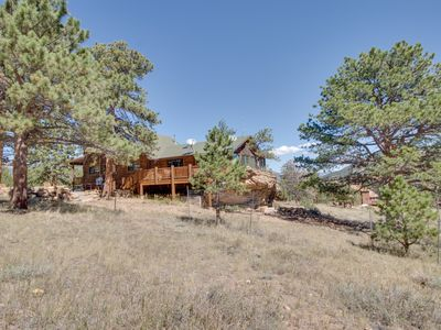 Photo for NEW LISTING! Mountain getaway w/separate bunkhouse, deck & trail access