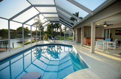 Photo for 3 bed-2 bath-waterfront home-heated pool-direct gulf access-southern exposure