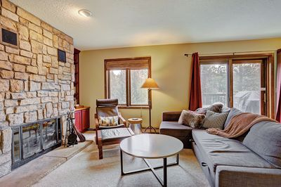 Listen to the sounds of the Blue River from this spacious living room.