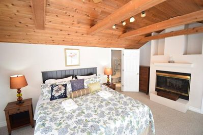 Luxury Master Bedroom with individual fireplace, side tables/lamps, Netflix TV