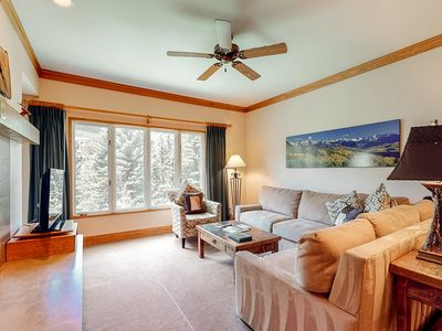 Photo for Charming cabin-inspired condo w/ forest views, fireplace, shared pool & hot tub!