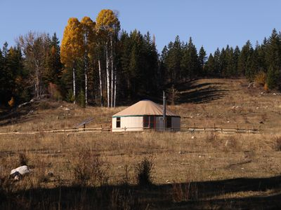 Photo for Fully furnished yurt  with private lake at Bear Valley Highlands