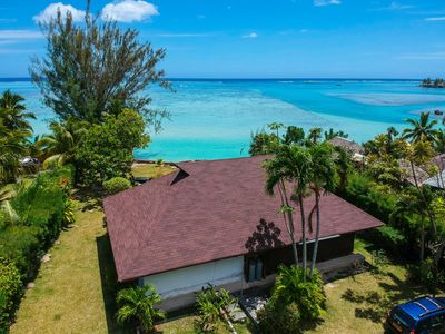 Photo for Tiahura Beach Villa By ENJOY VILLAS MOOREA , Beachfront Polynesian Villa