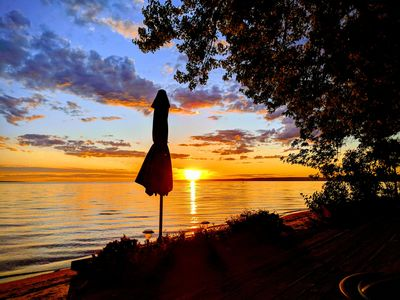 Photo for Private Beachfront Mini-Mansion 3 hrs from Toronto, the most magnificent sunset!