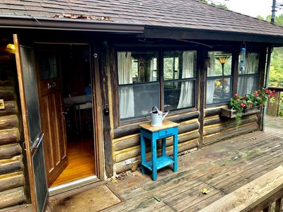 Photo for LakeWood Cabin #4, Lake Front, Wrap Around Deck, 1930's Log Cabin, New Kitchen, One Bedroom