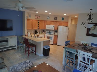 Newly renovated open concept kitchen with granite countertops and new applicance