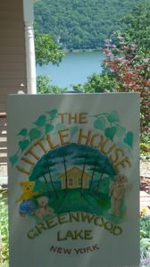 The Little House sign, and the view beyond.