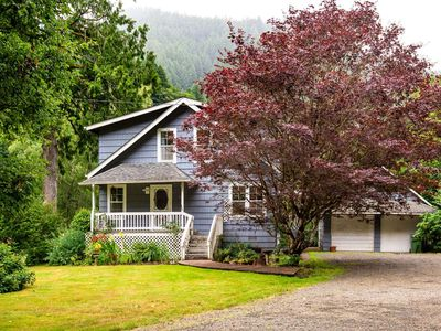 Photo for Riverfront Peaceful Farmhouse! On the Siuslaw River w/ Fishing Hole, Hot Tub, Bring the Whole Family