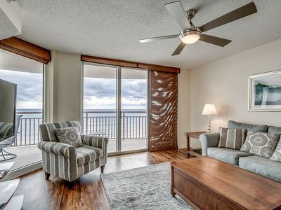 Photo for Corner unit with glorious panoramic vistas of the beach from the balcony! | South Shore - 1107