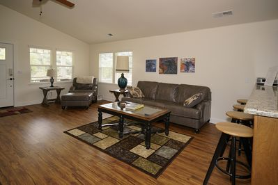 Large, open floor plan creates multiple seating arrangements