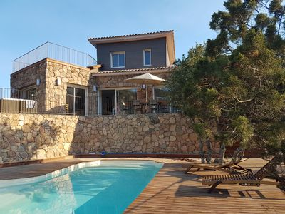 Photo for Palombaggia Villa 3 bedrooms heated pool fenced Jacuzzi Porto Vecchio