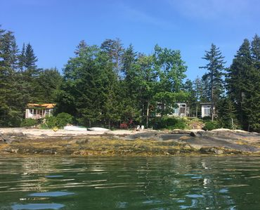 Marianna's cabin, the main cabin and Annex as viewed from the water.