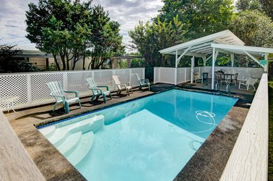 Lovely back yard pool with covered cabana