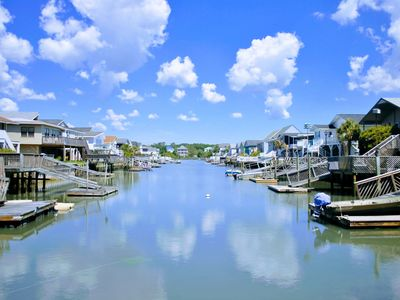 Photo for Channel Home with water access & floating dock/ 1 block from beach/Large decks