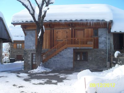 Photo for Beautiful chalet in the mountains in the center of the village resort of Albiez