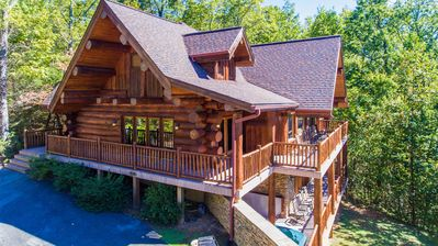 Photo for Grizzlys Den- Authentic Log Home, Beautiful View, 5 BR, Hot Tub, Game Room