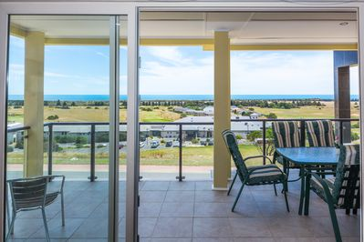 View of the links golf course from the front veranda of Haven on the Links