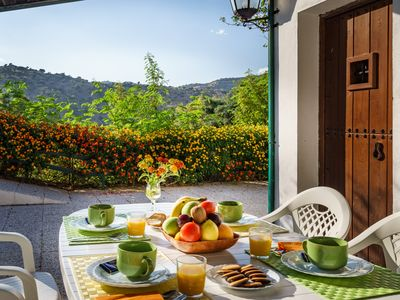 Photo for Andalusian house at Malaga, terrace, garden, pool, BBQ