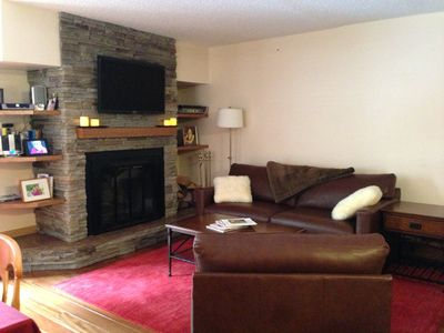 "Comfy living room with 40"" TV, wood burning fireplace and views of Vail Mountain"