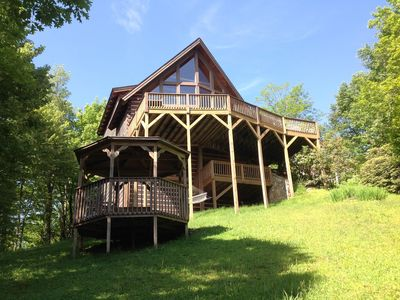 Photo for Boone/Blowing Rock/ BRParkway-Log home-Huge View-Easy Access-Two decks-Spa tub