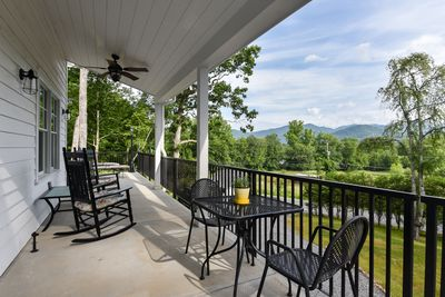View from your covered porch and outdoor breakfast table