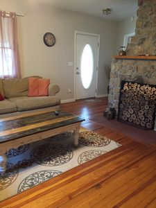Heart pine floors original to the farm house add to the cozy atmosphere!