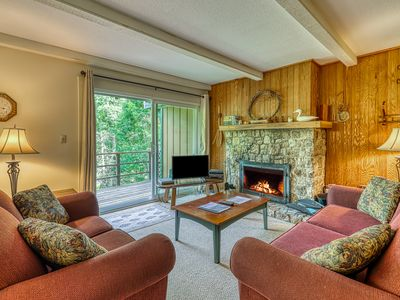 Photo for Perfectly located mountain condo w/ balcony views and a stone fireplace