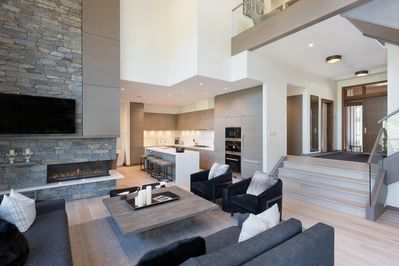 Living area with gas fireplace.
