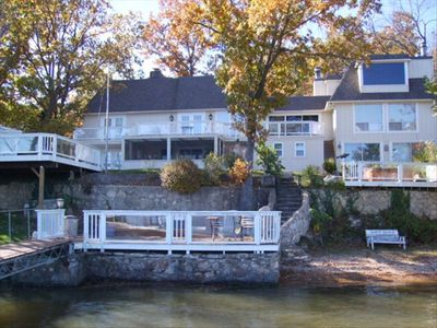 Enter the Water from the Private Beach at this Beautiful 8 B/R-9 Bath Lake Home