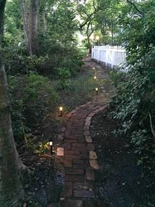 The garden path from the cottage gate to the street.