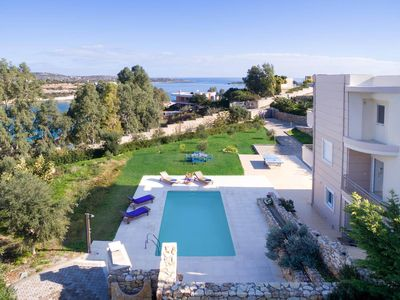 Photo for 4BR Beachfront Villa in Chania just 50 meters from Sandy beach and Restaurant