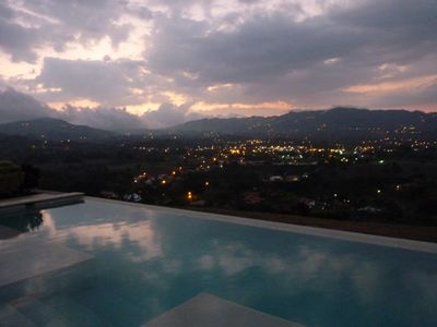 Atenas City Lights at Sunset from the pool