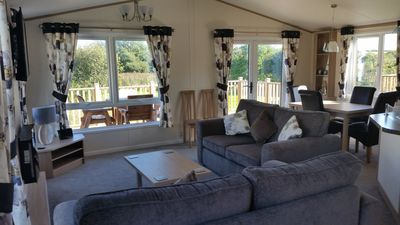 Photo for Luxury lodge with lake views - Crantock, Near Newquay